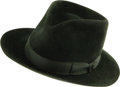 "Movie/TV Memorabilia:Costumes, Dean Martin Owned Hat. A black Stetson Zephyr fedora, size 7, ownedand worn by Dean Martin. Both his name and ""Sands Hotel""..."