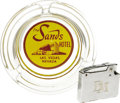 "Movie/TV Memorabilia:Props, Dean Martin's Personal Sands Casino Lighter and Ashtray. A 2"" x 1.5"" stainless steel Hestia cigarette lighter with a Sands C..."