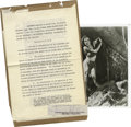 "Movie/TV Memorabilia:Autographs and Signed Items, Maureen O'Sullivan Signed ""Tarzan"" Contract. A 15-page contract between MGM and Maureen O'Sullivan dated November 13, 1931, ..."