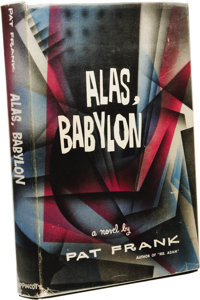Pat Frank: Signed First Edition of Alas, Babylon. (New York: J. B. Lippincott, 1959), first edition, 254 pages, signed b...