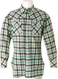 Movie/TV Memorabilia:Costumes, Roy Rogers Plaid Western Shirt by Nudie Cohn. An authentic plaid Western-style shirt designed by Nudie Cohn and owned and wo...