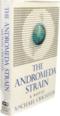 Books:First Editions, Michael Crichton: Review Copy of The Andromeda Strain. (NewYork: Alfred A. Knopf, 1969), first edition, 295 pages, publ...
