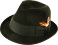 "Movie/TV Memorabilia:Costumes, Frank Sinatra Owned Hat. A black Aaron brand fedora owned and worn by Frank Sinatra, with his name and ""Sands Hotel"" embosse..."