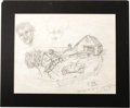 "Movie/TV Memorabilia:Original Art, Red Skelton Pencil Sketch. A large pencil sketch drawn by the latecomedian, inscribed ""During one of my more trying days"" a..."