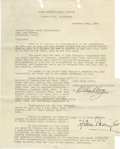 """Movie/TV Memorabilia:Autographs and Signed Items, Irving Thalberg Signed Letter. Remembered in film history as MGM's """"Boy Wonder,"""" Irving Thalberg is still the most legendary..."""