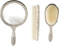 Movie/TV Memorabilia:Props, Lana Turner Three-Piece Grooming Set. This silver-plated,three-piece set includes a comb, brush, and hand mirror, in Finet...