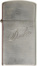 "Movie/TV Memorabilia:Props, John Wayne's Personal Zippo Lighter. A small, sterling silver Zippocigarette lighter with ""Duke"" engraved on one side, owne..."