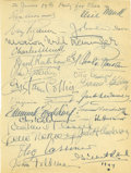 Movie/TV Memorabilia:Autographs and Signed Items, Clifton Webb Guestbook Page with Celebrity Signatures. Clifton Webb was well-known for throwing celebrity-studded parties du...