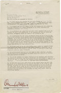 Movie/TV Memorabilia:Autographs and Signed Items, Orson Welles Signed Radio Contract. A two-page contract dated October 6, 1943, engaging the services of Orson Welles for an ...