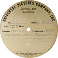 """Music Memorabilia:Recordings, Frank Sinatra """"Lonesome Man Blues"""" Acetate (Universal Picture 1679,1951). Single-sided acetate was made June 23, 1951. Cond..."""