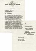 "Movie/TV Memorabilia:Documents, 20th Century-Fox Fires Marilyn Monroe from ""Something's Got toGive."" Offered is a historically important carbon-typewritten..."