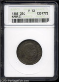 Coins of Hawaii: , 1883 Hawaii Quarter Fine12 ANACS. ...