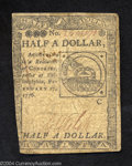 Colonial Notes:Continental Congress Issues, Continental Currency February 17, 1776 $1/2 Very Fine. ...