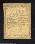 Colonial Notes:Continental Congress Issues, Continental Currency February 17, 1776 $2/3 Fine. A solid, ...