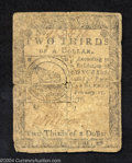 Colonial Notes:Continental Congress Issues, Continental Congress Issue February 17, 1776 $2/3 Very Good.