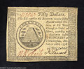 Colonial Notes:Continental Congress Issues, Continental Currency September 26, 1778 $50 Extremely Fine.