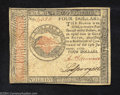 Colonial Notes:Continental Congress Issues, Continental Currency January 14, 1779 $4 Choice Extremely ...
