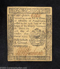 Colonial Notes:Pennsylvania, Pennsylvania October 25, 1775 4d About New. Nicely ...
