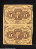 Fractional Currency:First Issue, Fr. 1230 5c First Issue Vertical Pair New. Both notes are ...