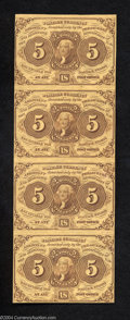Fractional Currency:First Issue, Fr. 1230 5c First Issue Vertical Strip of Four New. Bright,...