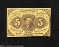 Fractional Currency:First Issue, Fr. 1230 5c First Issue New. Cut in slightly at the bottom....