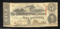 Confederate Notes:1863 Issues, T60 $5 1863. Trimmed in a little and the top and cut too ...