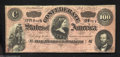 Confederate Notes:1864 Issues, T65 $100 1864. A mildly circulated example of the dark red ...