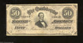 Confederate Notes:1864 Issues, T66 $50 1864. A Yankee sabre put a one inch tear into this ...