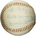 Autographs:Baseballs, Mickey Mantle Single Signed Baseball with Inscription. The adoredslugger Mickey Mantle offers a splendid example of his hi...