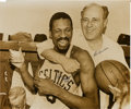 Autographs:Photos, Red Auerbach and Bill Russell Dual-Signed Oversized Photograph.Perhaps the two men most responsible for the greatest dynas...