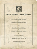 Basketball Collectibles:Others, 1944 War Bond Basketball Program Signed by 20. The program offeredhere comes from a 1944 New York City event that staged e...
