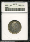 Coins of Hawaii: , 1883 Hawaii Quarter AU58 ANACS. ...