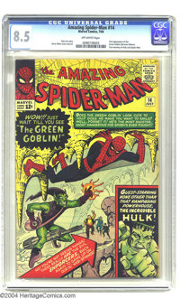Amazing Spider-Man #14 (Marvel, 1964) CGC VF+ 8.5 Off-white pages. Steve Ditko cover and art. First appearance of the Gr...