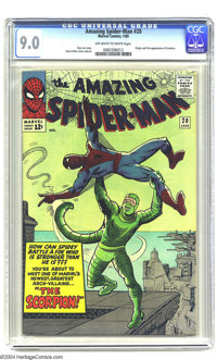 Amazing Spider-Man #20 (Marvel, 1965) CGC VF/NM 9.0 Off-white to white pages. Origin and first appearance of the Scorpio...
