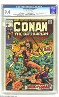 Bronze Age (1970-1979):Superhero, Conan the Barbarian #1 (Marvel, 1970) CGC NM 9.4 Off-white to whitepages. Origin and first appearance of Conan. First appea...