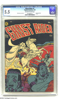 Ghost Rider #1 (Magazine Enterprises, 1950) CGC FN- 5.5 Off-white to white pages. Origin of the Ghost Rider. Dick Ayers...