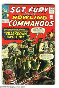 Sgt. Fury and His Howling Commandos #11 (Marvel, 1964) Condition: VF+. Bright red background adds stark contrast to logo...