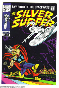 The Silver Surfer #4 (Marvel, 1969) Condition: VF-. It's the Silver Surfer vs. the mighty Thor in this double-sized issu...