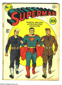 Superman #12 (DC, 1941) Condition: GD/VG. Fred Ray cover art. Overstreet 2003 VG 4.0 value = $430