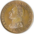 Colonials, 1783 1C Washington & Independence Cent, Draped Bust, Copper Restrike, Engrailed Edge PR66 Red and Brown PCGS....