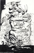 Original Comic Art:Splash Pages, Simon Bisley - Original Art Splash Page (undated). This wild andwooly Simon Bisley ink drawing was done on the back of a pi...