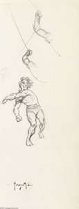 "Original Comic Art:Sketches, Frank Frazetta - Original Sketch, ""Punching Man"" (undated). Pencil rough of a muscular man throwing a punch at some unseen a..."