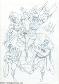 Original Comic Art:Splash Pages, Paul Ryan - Original Art Pin Up of the Superman Family (2001). Thewhole Super Family in this lovely pencil pin-up. Graphite...