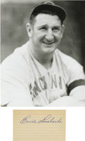 Autographs:Index Cards, Ernie Lombardi Signed Index Card with Unsigned Photograph. One ofthe finest hitting catchers of all-time, Ernie Lombardi i...