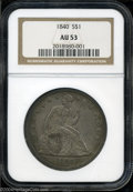 Seated Dollars: , 1840 AU53 NGC. ...