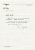 Golf Collectibles:Autographs, 1991 Ben Hogan Signed Typed Letter. One of the finest golfers inthe game's great history has here provided a stellar appli...