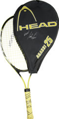 Autographs:Others, Andre Agassi Signed Tennis Racquet/Cover. One of the mostflamboyant characters in the history of tennis offers a pair ofh...