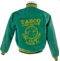 Music Memorabilia:Costumes, Eric Clapton 1977 Tour Jacket. Green nylon tour jacket withgreen-and-yellow trim and large Tasco sponsorship patch on the b...