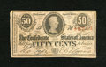 Confederate Notes:1863 Issues, T63 50 Cents 1863. This is a plate letter B 1st Series note. This50 cent type has red serial numbers. Fine....