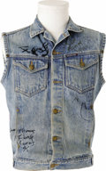 "Music Memorabilia:Autographs and Signed Items, George Clinton and Parliament Signed Denim Vest. A musical pioneeroften hailed as ""The Prime Minister of Funk,"" George Clin..."